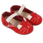 รองเท้าเด็กหุ้มส้นแมวเหมียวสีแดง