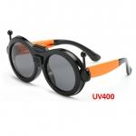 แว่นตาเด็กกันแดดซิลิโคนพับได้ Robot สีส้ม-ดำ