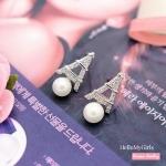 ต่างหูเกาหลี ต่างหูแฟชั่น ต่างหูมุกแต่งหอไอเฟลสีเงินฝังเพชร