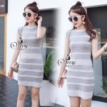 Mini Dress ผ้า ไหมพรม ชุด Dress ทรงเข้ารูปลายขวาง เนื้อผ้าสวยงานเย็บละเอียด