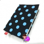 """ปกผ้าพื้นดำ Polka Dot เนื้อผ้าคอตต้อนญี่ปุ่น ขนาด 8"""" ( Pocket Book )"""