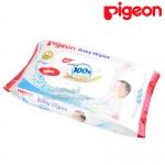 [60แผ่น] Pigeon เบบี้ไวพส์ สูตรน้ำบริสุทธิ์ 100% ผสมซากุระสกัด Baby Wipes Sakura Extract