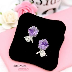 ต่างหูเกาหลี ขายส่งต่างหู ต่างหูคริสตัลรูปดอกไม้สีม่วง