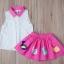 BabyCity ชุดเสื้อพริ้วไหวกระโปรงลายลูกเจี๊ยบ Pink thumbnail 7