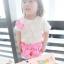 BabyCityเสื้อลูกไม้พร้อมกางเกงขาพองรุ่นโบว์สีชมพู thumbnail 3